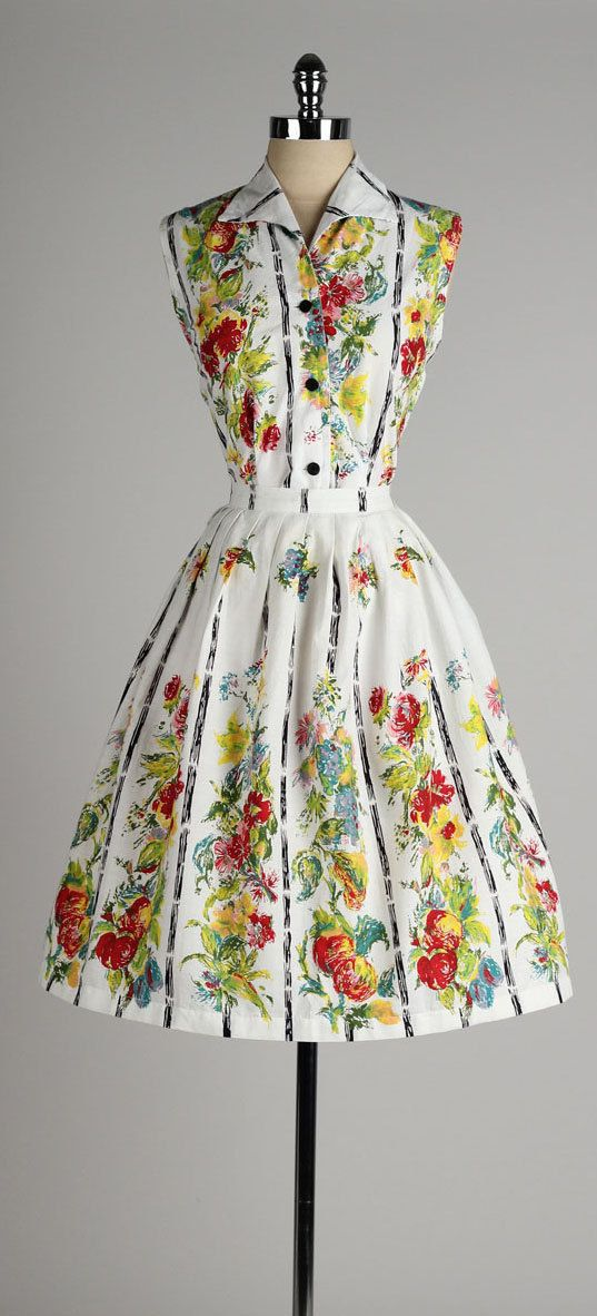 vintage 1950s 2 piece colourful fruit and floral dress