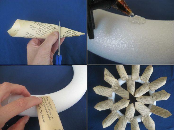 Corona navide a de navidad con papel libros revistas - Manualidades de papel reciclado ...
