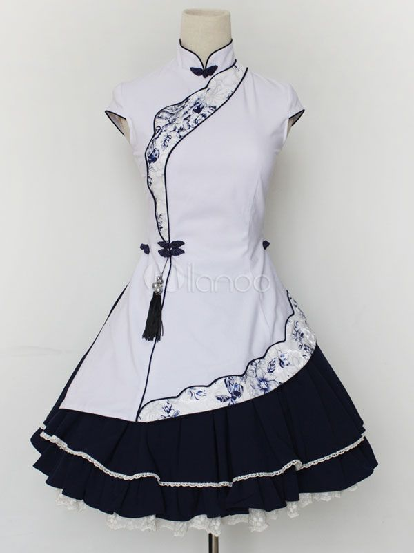 White Stand Collar Cotton Blend Lolita Dress - Milanoo.com
