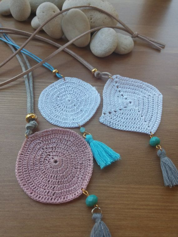 hand-knitted cord necklaces with stones and pompon in by toocharmy