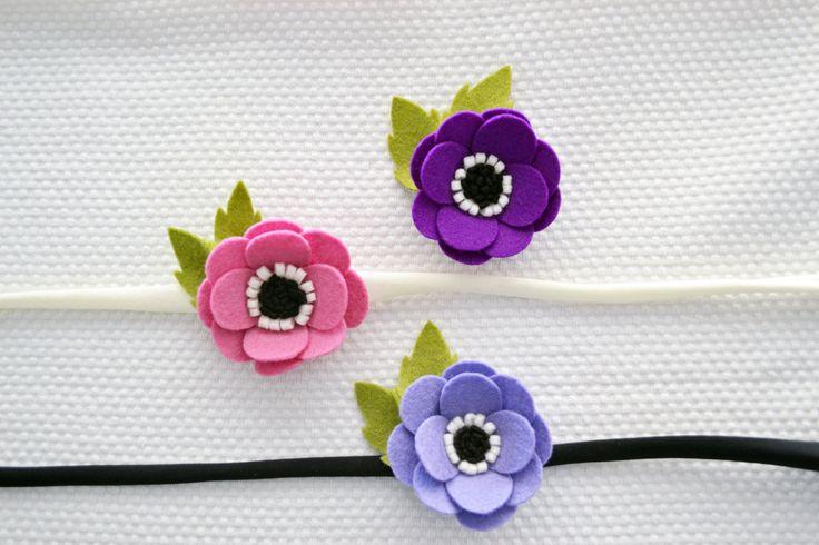 Anemone Felt Flower Headband/Felt Flower Wrist Corsage/Flower Girl Headband/Bridesmaid wrirst corsage/Baby shower gift/Cottage chic wedding by CraftyCatgr on Etsy