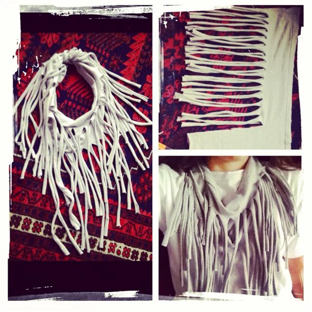 DIY fringe scarves