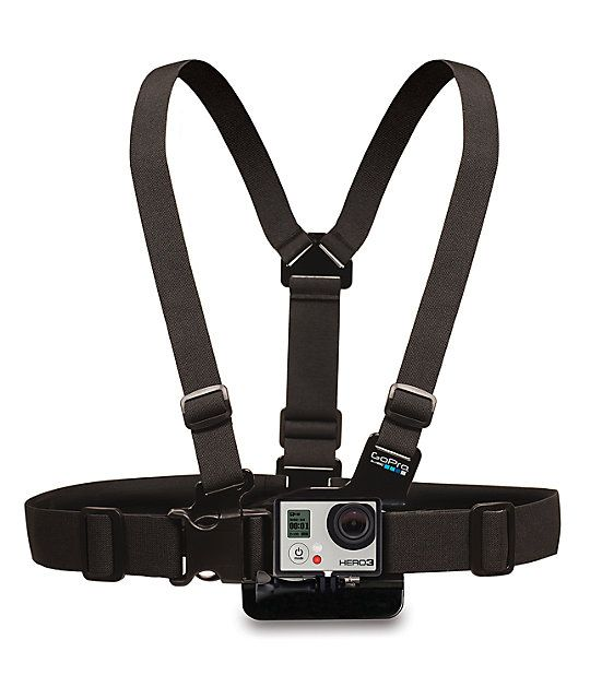 "Tired of the helmet POV or holding your GoPro HD cameras without being able to see your arms on a grab or handlebars for a bar spin? Well your in luck with the GoPro ""Chesty"" Chest Mount Harness that puts the point of view of your GoPro at your chest for"
