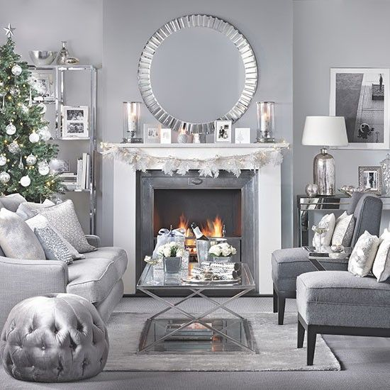 Silver and grey Christmas living room | Living room decorating | Ideal Home…