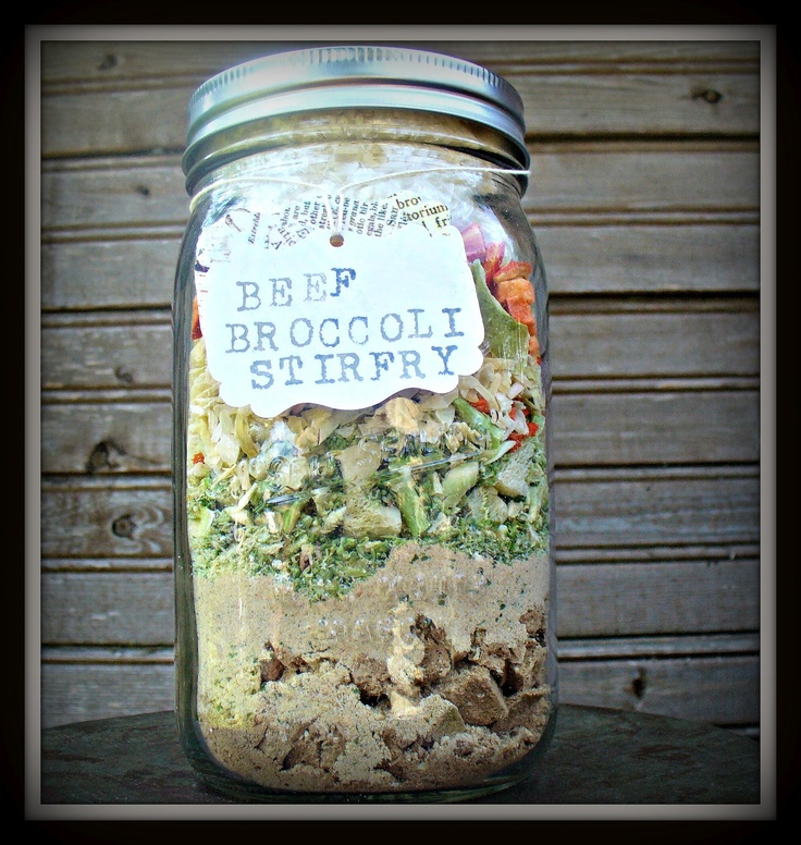 Beef broccoli stir fry in a jar