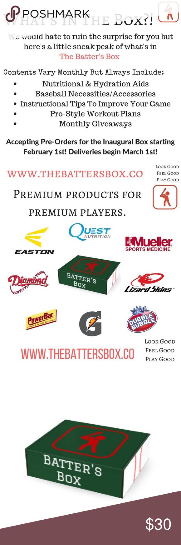 The Batter's Box! Baseball Supply Box! I just wanted to share something with you fellow baseball parents! It's filled with baseball gear, hydration supplements and monthly surprises . Some of the boxes this month included Spring training tickets and a jersey! Designed by baseball players, made for baseball players ! Also was featured on bay news 9 !📦Ships next day 💚bundle and save!! 💋price firm. Nike Other