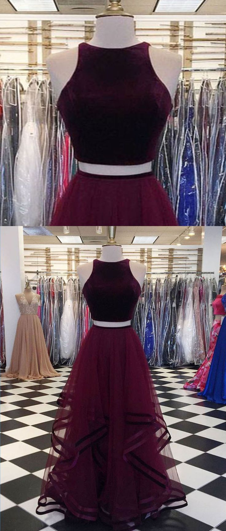 Two Pieces A-Line O-Neck Prom Dresses,Long Prom Dresses,Cheap Prom Dresses, Evening Dress Prom Gowns, Formal Women Dress,Prom Dress