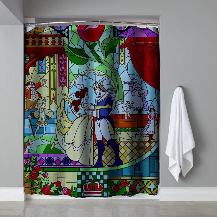 """Cheap Beauty And The Beast Stained Glass Exclusive Design Shower Curtain 60""""x72""""  