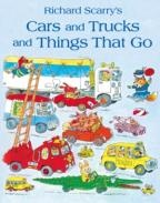 Cars and Trucks and Things that Go! by Richard Scarry. Follow the Pig family on a day out at the beach, and spot as many moving vehicles as possible. Also 'Goldbug' is hiding on every page, amongst the detailed and witty illustrations.