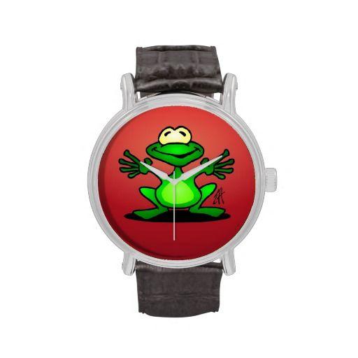 Friendly green frog wrist watch. #Spreadshirt #Cardvibes #Tekenaartje