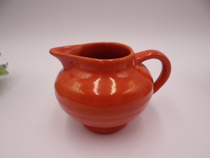 Near Mint Very Rare 1930s Bauer Pottery Ring Ware Orange Midget Mini Creamer
