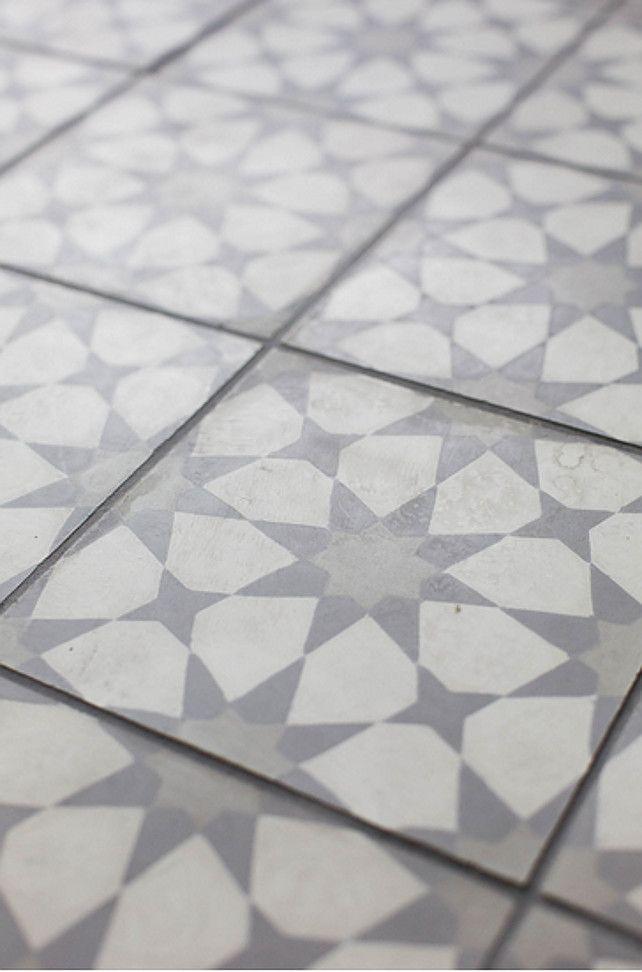 Love This Vintage Style Tile Looks Like Star Quilt Blocks Coastal Blue Laundry Room Grey Floor Tilesgray