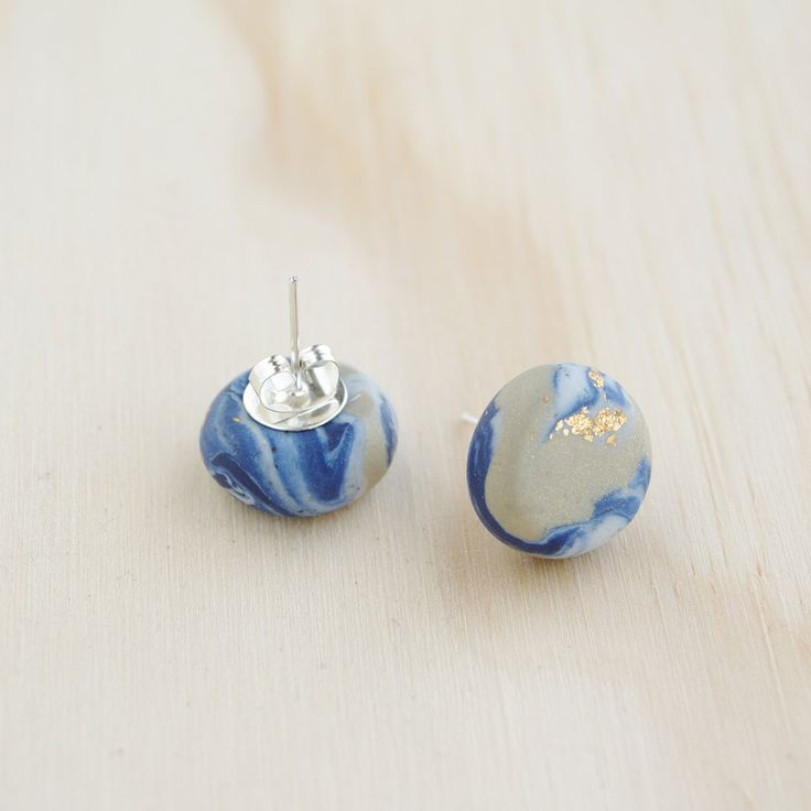 Gold with Blue & White Marble Stud Earrings handmade with polymer clay by colourwork on Etsy