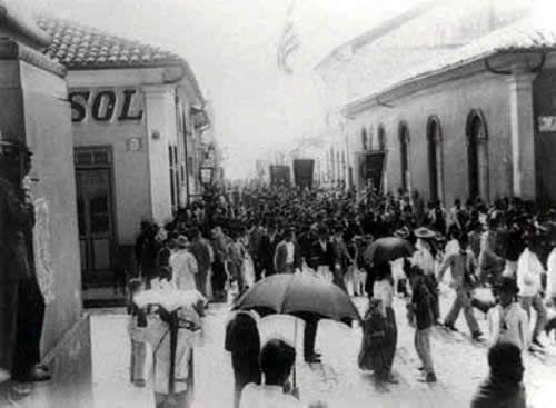 Campinas, rua treze de maio em 1903, ocasião da visita de Santos Dumont.
