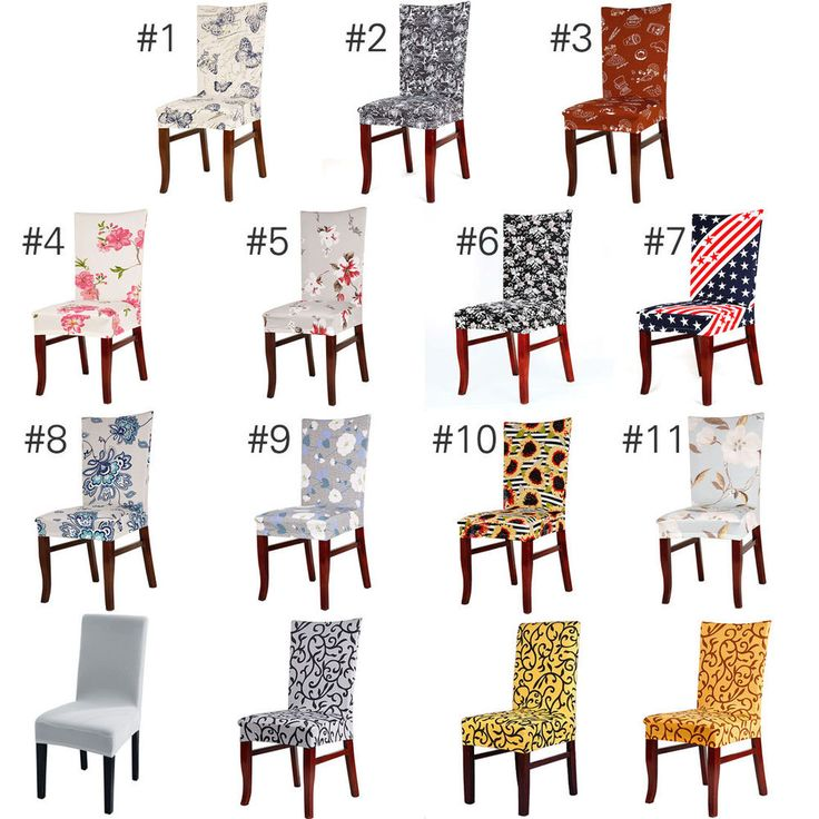Washable Chair Covers Stretch Slipcovers Short Dining Room Stool Seat Cover UK