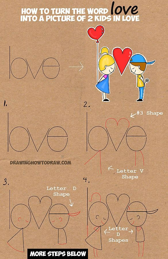 Learn How to Draw Cartoon Kids in Love from the Word Love in this Easy Words Cartoon Drawing Lesson for Children