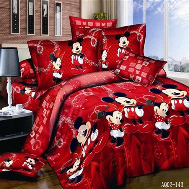 100%Cotton Mickey Mouse Single Full Queen King Size Bed Linen Quilt/Duvet Cover Set Pillow Cases Bedding Set Home Textile 3/4pcs