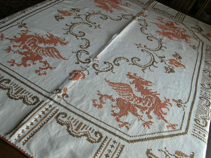 "Vtg German Linen 54""X59"" Tablecloth Dragon Griffin Earth Tone Handwork Nice 