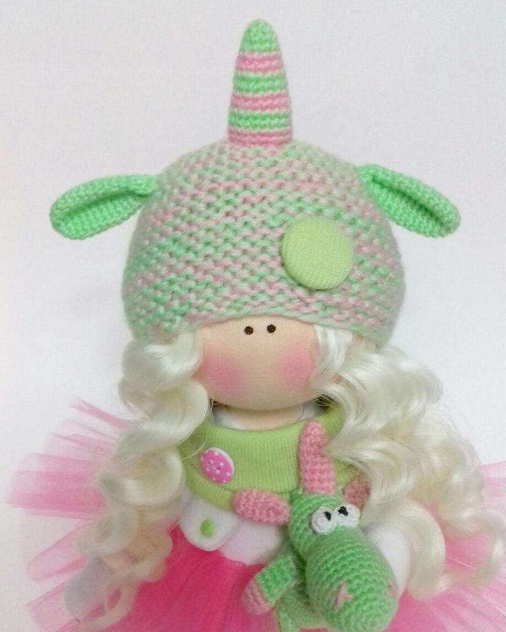 Tilda Doll Handmade Doll Unicorn doll Textile Doll Green Doll Fabric Doll Green Doll Muñecas Soft Doll Cloth Doll Baby Doll Ask a question 89,00 US$