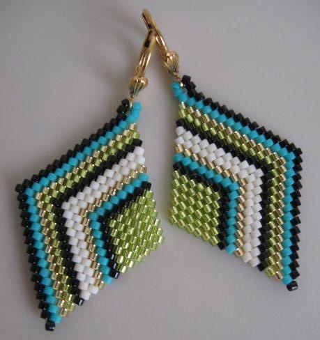 Seed Bead Diamond Shape Earrings by pattimacs on Etsy