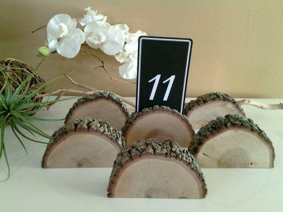 6 Oak tree trunk place card holders  - Wood place card holders - Oak tree slices - Rustic Wedding Decor - Centerpiece - Table settings