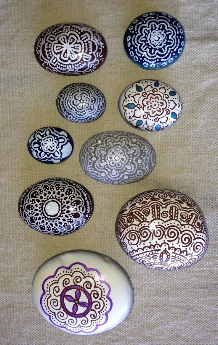 Hint of henna hand painted stones