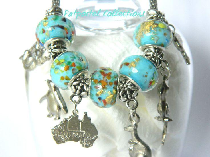 Beautiful Australiana Silver Charms Bracelet