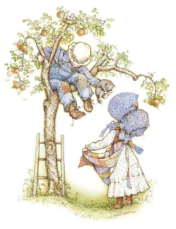 Holly Hobbie, getting kitten down from the tree