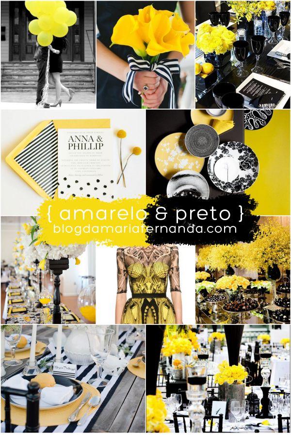 Decoração de Casamento Paleta de Cores Amarelo e Preto | Wedding Inspiration Board Color Palette Yellow and Black | http://blogdamariafernanda.com/decoracao-de-casamento-paleta-de-cores-amarelo-e-preto