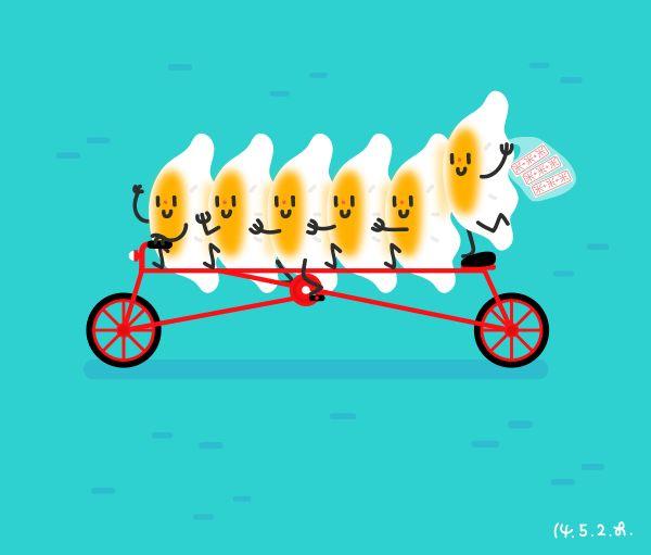 Tasty Illustration - 13. Dumplings, Bicycle on Behance