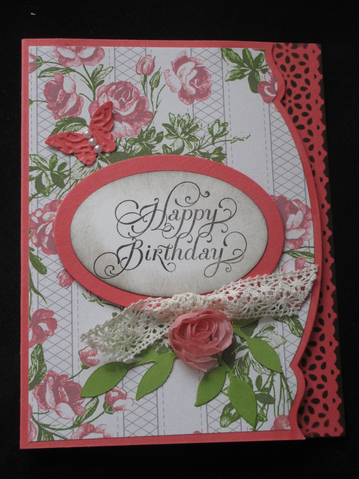 I made this fun birthday card using some of our newer Stampin' Up! products including sponging the Lace tape.