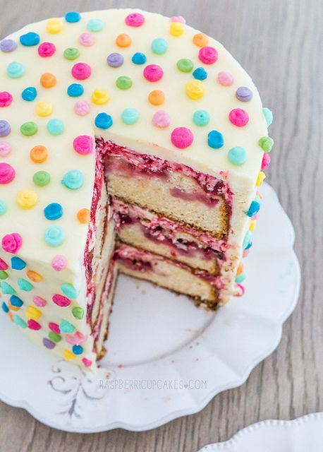 Polka Dot Icing Cake with Strawberry & Rhubarb by raspberri cupcakes, via Flickr
