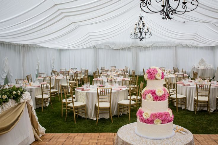 This beautiful 3-tiered pink wedding cake was designed by Alison at Whippt Desserts.  It was located right in the centre of the dancefloor as a showpiece - so beautiful!  The gold chiavari chairs and the chandeliers throughot the room gave the reception the elegant pop that the bride and groom were going for- www.tlawphotography,ca
