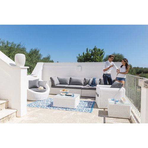 Tappeto blu e bianco da esterno in tessuto 140 x 200 cm SANTORIN