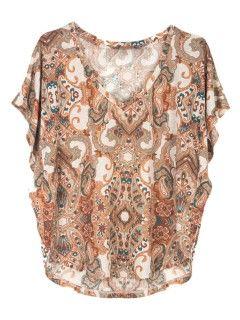 Shop Brown Paisley Print Batwing T-shirt from choies.com .Free shipping Worldwide.$32.99