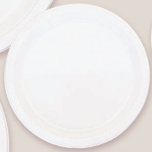 "Plastic White Dinner Plates 10.25"". Plastic 10.25"" Dinner Plates Solid ColoursThere are 20 Plastic Dinner Plates per package. They are a LARGE 10.25 inches and come in 22 colours to suit any theme or event. This is a great item if you require a large plate that is stronger than paper."