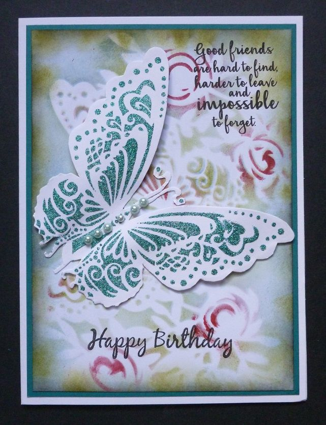 'Good Friends Butterfly' card -  Imagination Craft's - Large butterfly mask.  Vineyard Sparkle Medium.  Metal spatula.  Red Starlight paint.  Magi-bond glue.  Distress inks.  Sentiment stamp - Dovecraft.  Happy Birthday stamp - Free with craft magazine.  November 2017.  Designed by Jennifer Johnston.