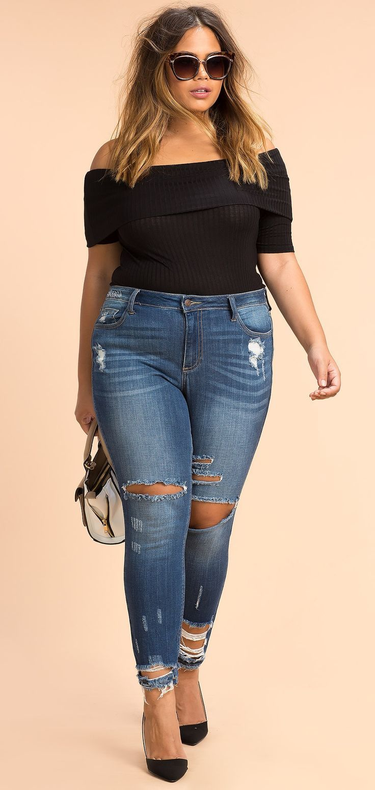 Cool Girl Summer Outfits Plus Size Raw Hem Boyfriend Jeans... Check more at http://24store.ml/fashion/girl-summer-outfits-plus-size-raw-hem-boyfriend-jeans/