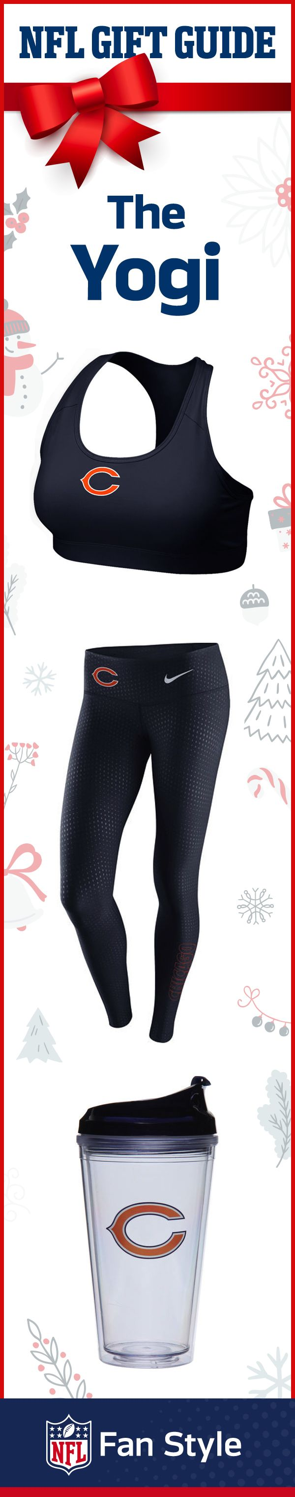 The Yogi: the holiday giftset for the woman who find inner peace while tailgating or while on a yoga mat. Help her find her center with some Chicago Bears performance apparel and a water bottle.