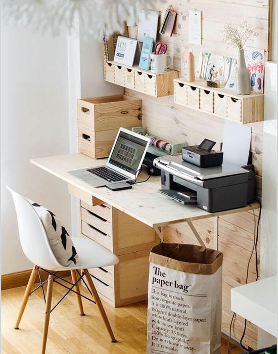 14 idées pour un bureau design et organisé à la maison #déco #bureau #homeoffice #freelance #entrepreneurs #blogueur #designinspiration #décoration #organisation #rangement
