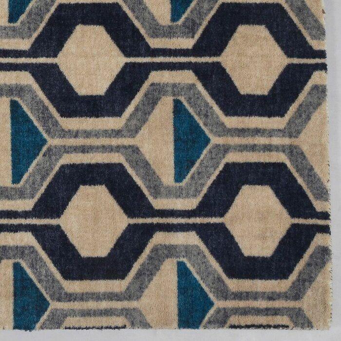 Pacheco Ring Road Mid Century Modern Geometric Blue Beige Area Rug