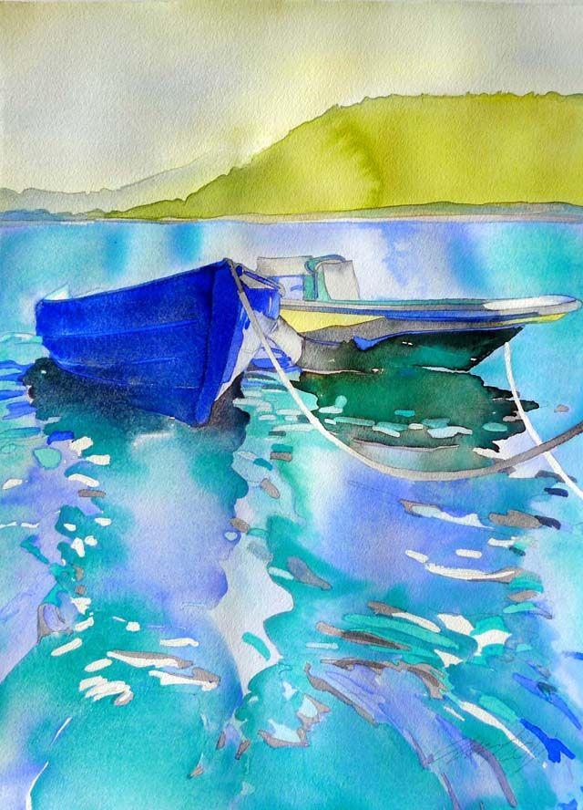 Boats - watercolor by ©Carol Carter - http://carol-carter.com/2011/November/virginislands.htm