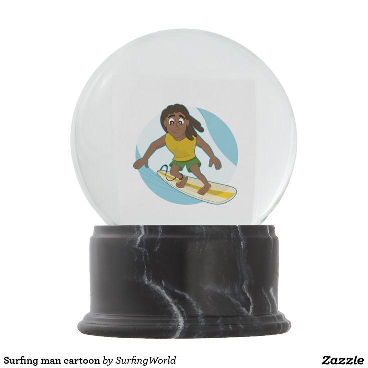 Surfing man cartoon snow globes