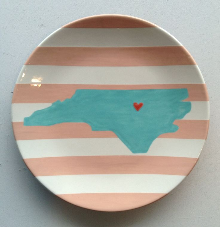 Striped NC silhouette plate! We love this!