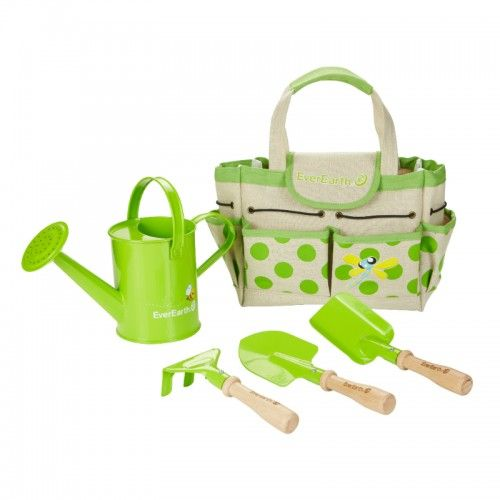With this gardening bag and matching tools children can experience exciting adventure out of doors and playfully develop their awareness of our environment in the process.  The set contains a hand rake, a hand scoop, a hand trowel, a small watering can, and a practical garden bag.  For every EverEarth® product purchased, you can go online to their website at www.everearthglobal.com and register. From there, EverEarth will plant a tree on your behalf in their FSC certified forest.