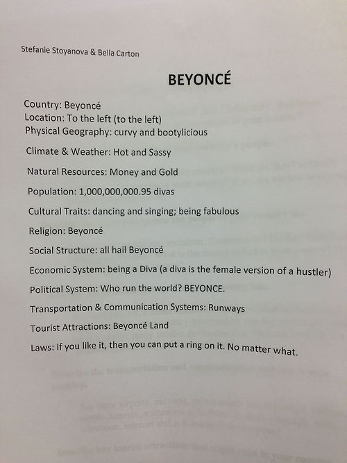 """""""Our history teacher is making us create our own country, so we did this"""" <<< I am DYING ahahahaha"""