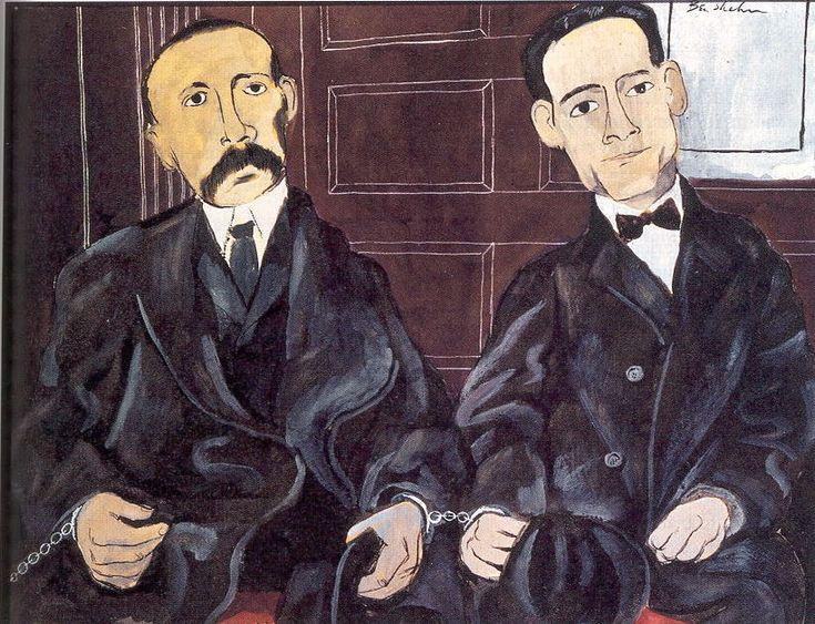 """1932. Ben Shahn. """"Sacco and Vanzetti"""".  Gouache gewijd aan de executie van twee Italiaans-Amerikaanse anarchisten op heel zwakke gronden.  Duidelijk een """"political"""" urban realist."""