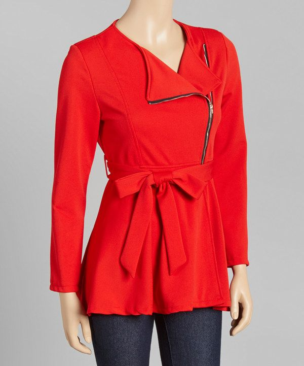 Look at this Red Belted Peplum Jacket on #zulily today!