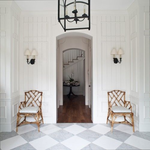 love love love... the grey and white is a nice departure from black and white tiles Chippendale chairs, marble floor    - theme for upstairs bathroom
