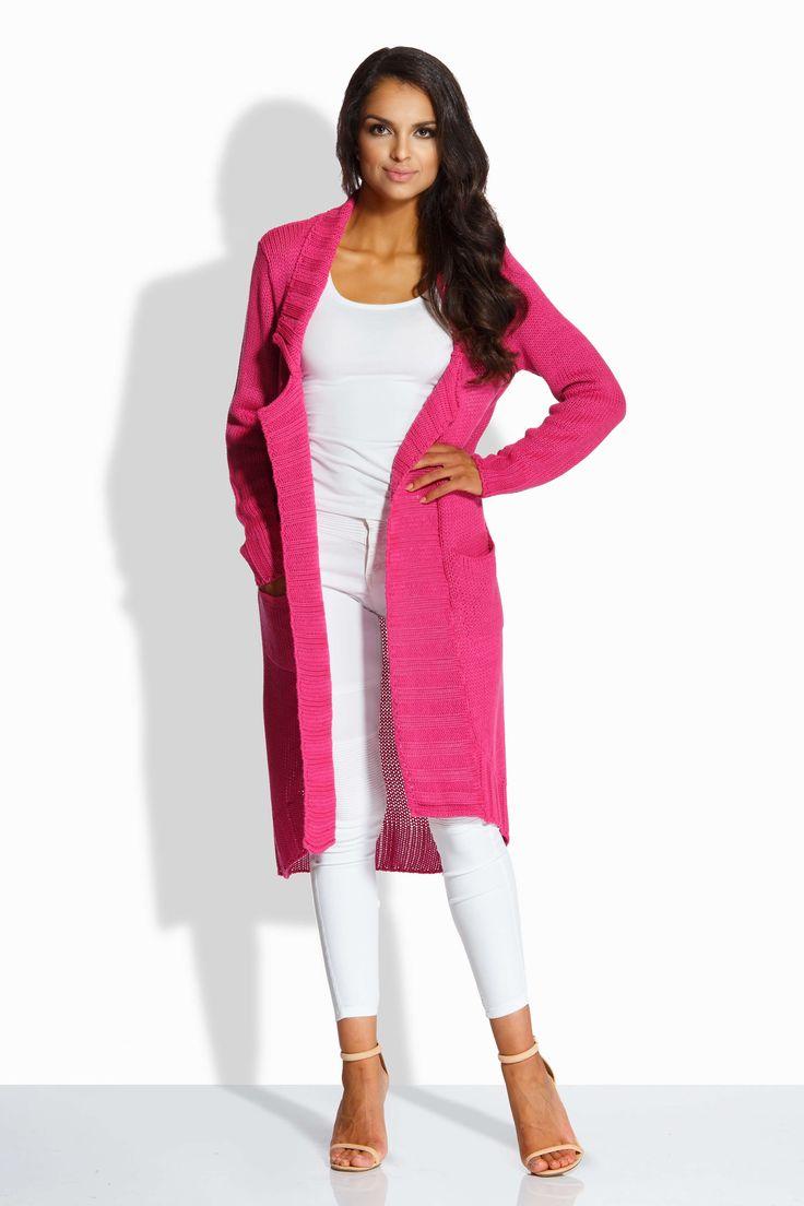 Cardigan lung de dama pink asimetric cu maneci lungi si guler ce nu se inchide putand fi purtat ca atare sau accesorizat cu un cordon asortat.
